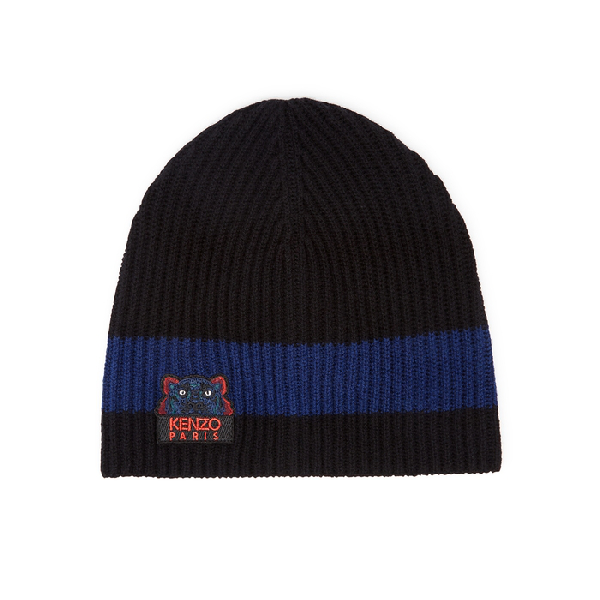 32a717d0f79075 Kenzo Black Tiger-Embroidered Wool Beanie In Blue | ModeSens