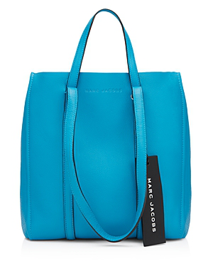 Marc Jacobs Tag 27 Large Pebbled Leather Tote In Bright Blue