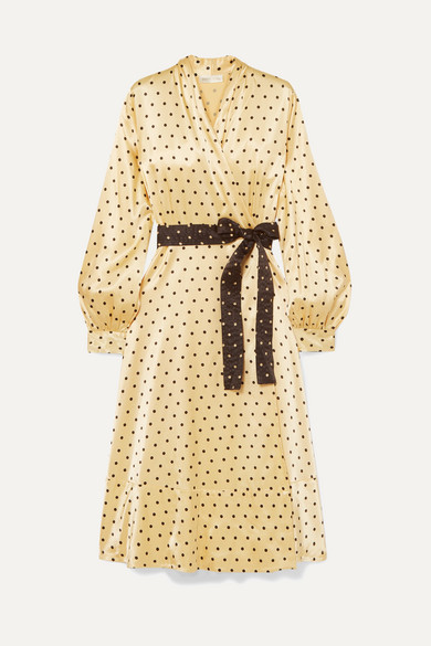 Stine Goya Reflection Polka-dot Satin Midi Wrap Dress In Yellow