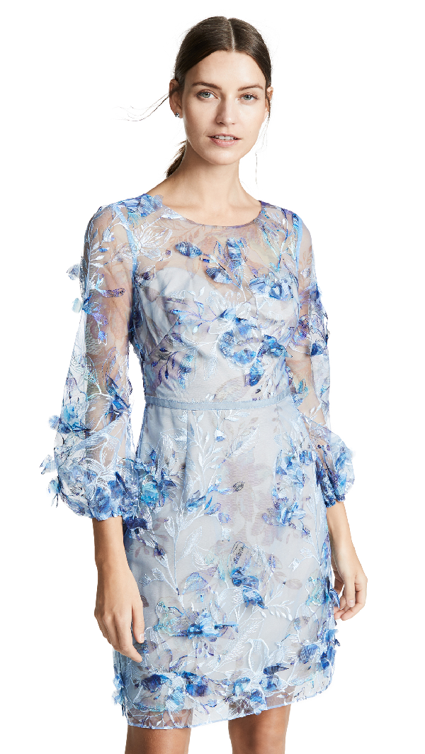 1c3d61cabd9 Marchesa Notte Embroidered Cocktail With 3D Flowers In Light Blue ...