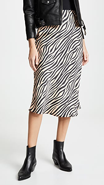 Re:named Re: Named Jully Tiger Midi Skirt In Nude/black