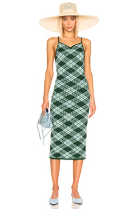 Alexa Chung Alexachung Plaid Midi Dress In Green & Mint