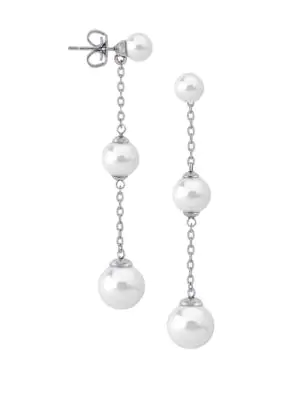 Majorica Sterling Silver And 6Mm-10Mm White Pearl Linear Drop Earrings