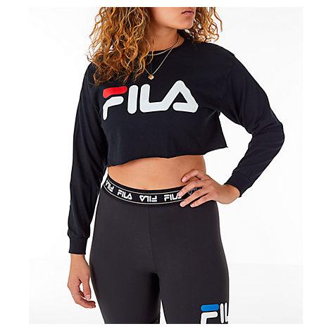 c23396ffb65f Fila Women's Colette Long-Sleeve Crop T-Shirt, Black | ModeSens