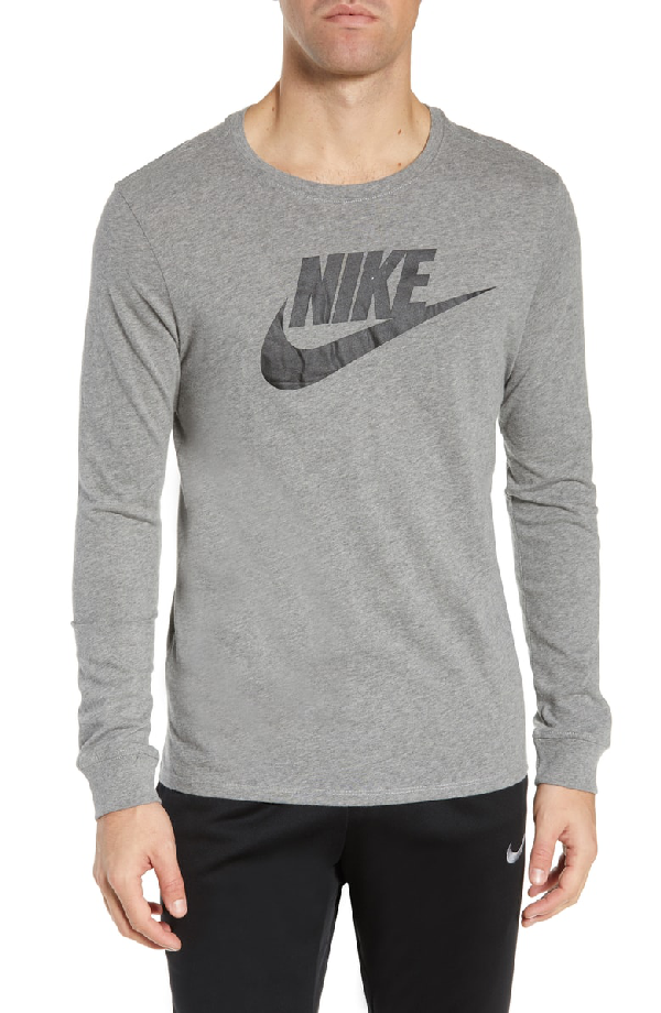 Nike Nsw Futura Icon Long Sleeve T-Shirt In Carbon Heather/ Black