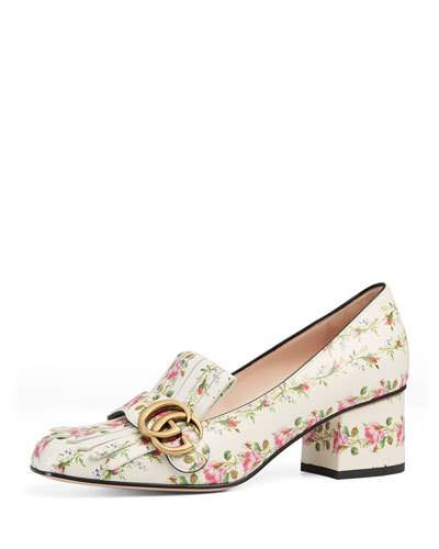 f3b915540 Gucci Marmont Fringe Rose 55Mm Loafer, Floral/White In Ivory | ModeSens