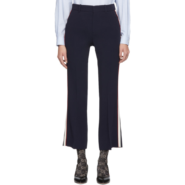 Gucci Navy Bootcut Trousers In 4191 Navy