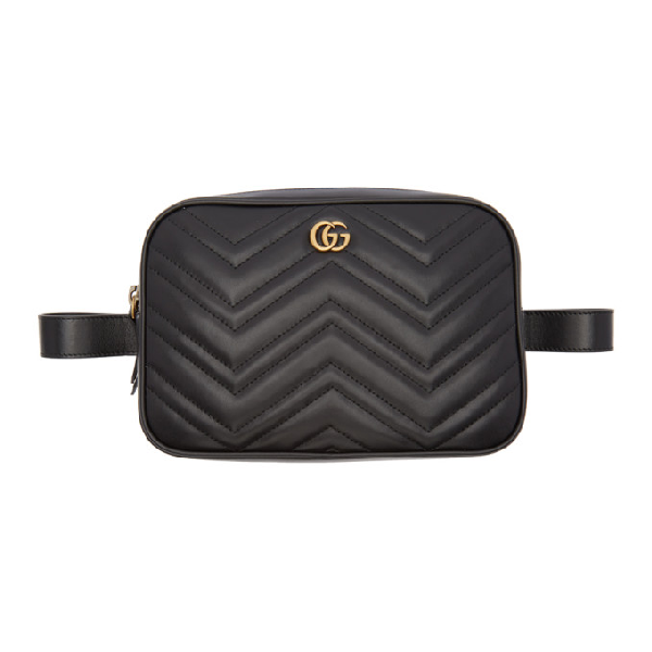 1469bee840221f Gucci Black Quilted Gg Marmont Belt Bag In 1000 Black | ModeSens