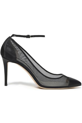 Jimmy Choo Woman Mesh And Leather Pumps Black