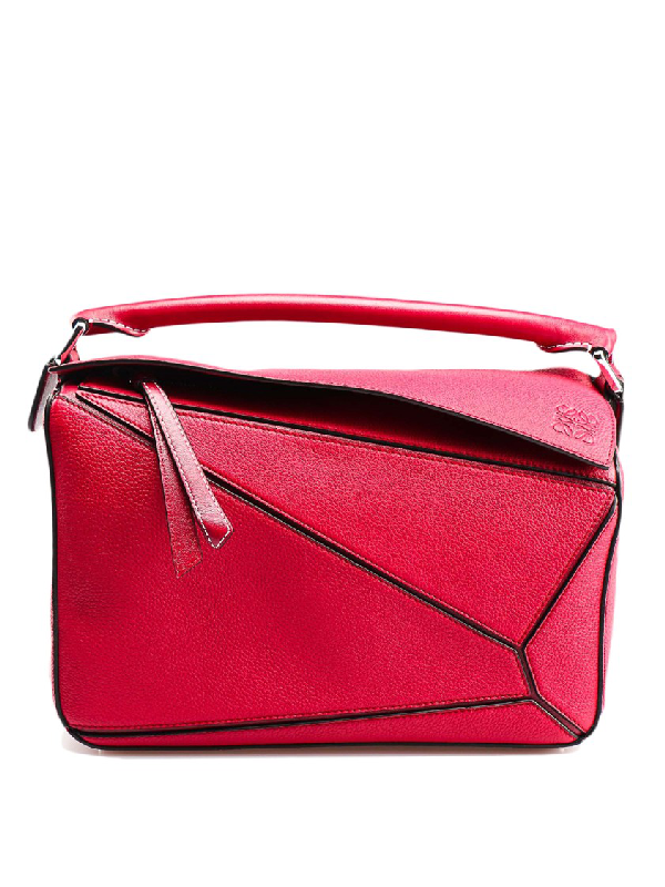 Loewe Puzzle Mini Textured-Leather Shoulder Bag In Red