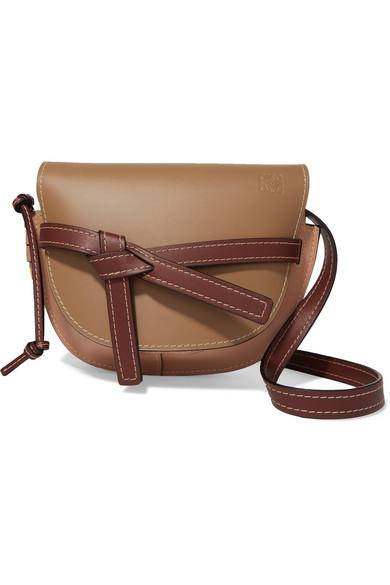 Loewe Gate Small Leather Shoulder Bag In Brown