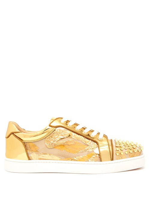 size 40 f9f30 6488c Seaveste Spike-Embellished Low-Top Trainers in Gold
