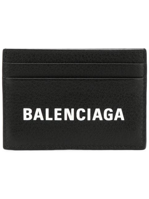 Balenciaga Everyday Logo-Print Full-Grain Leather Cardholder In Black
