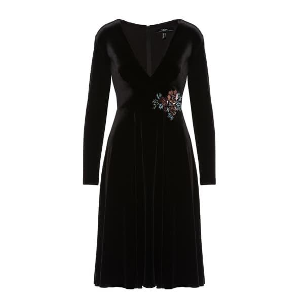 Nissa Velvet Black Midi Dress