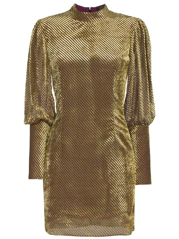 00756b03e647 De La Vali Jane Striped Velvet Mini Dress In Yellow
