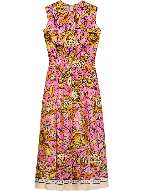 3f5aa9635 Gucci Sleeveless Watercolor-Floral Silk Midi Dress In Pink