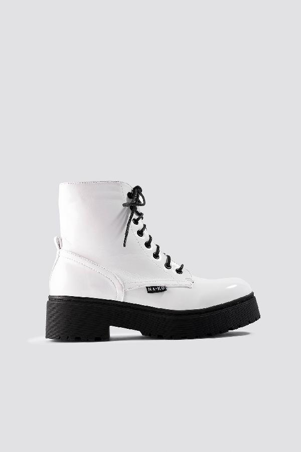 pretty nice 40b4a 22c97 Na-Kd Patent Combat Boots - White