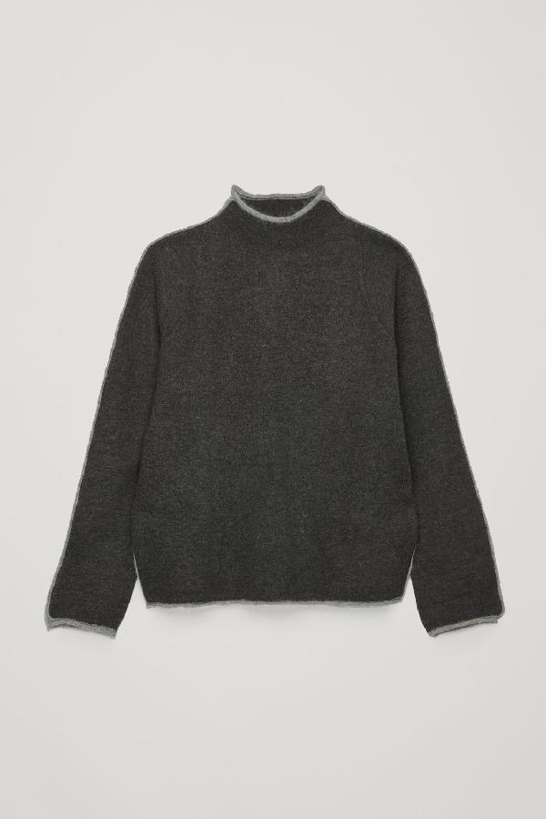 9edd11fdfd24 Cos Trimmed Boiled-Wool Jumper In Grey | ModeSens