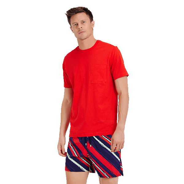 Vilebrequin Men Pima Cotton Jersey T-shirt Solid In Baton Red