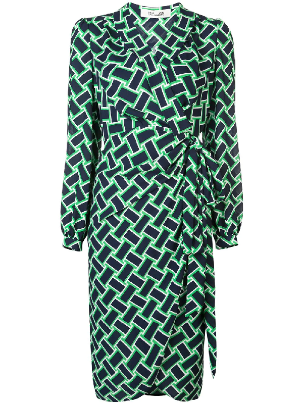b5b60ab056 Diane Von Furstenberg Carla Printed Long-Sleeve Wrap Dress In Vintage Weave  Vetiver