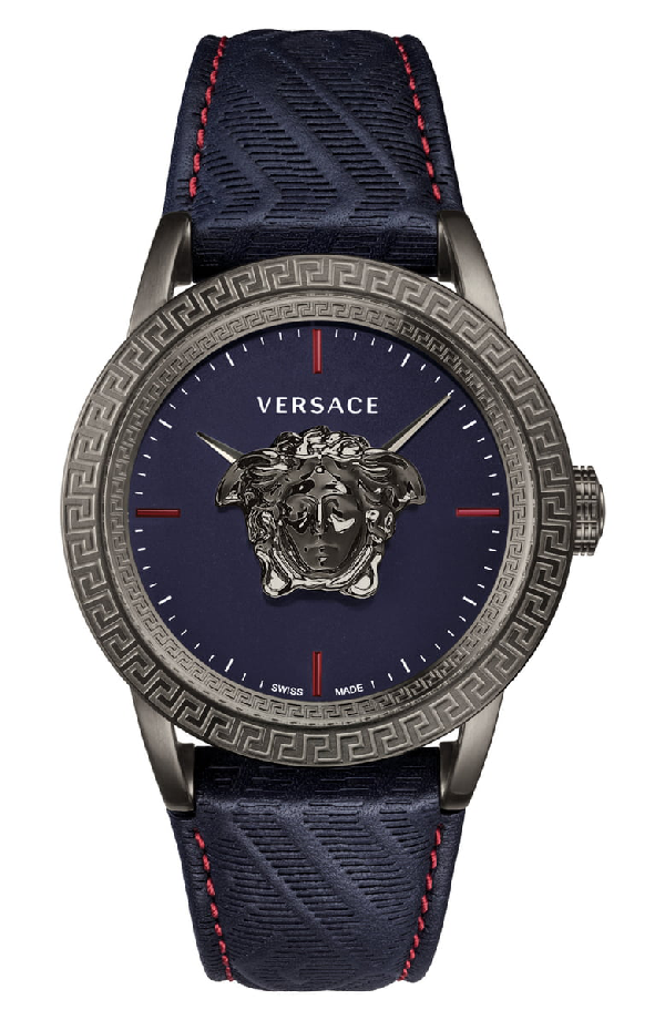 Versace Palazzo Empire Leather Strap Watch, 34Mm In Blue/ Gunmetal