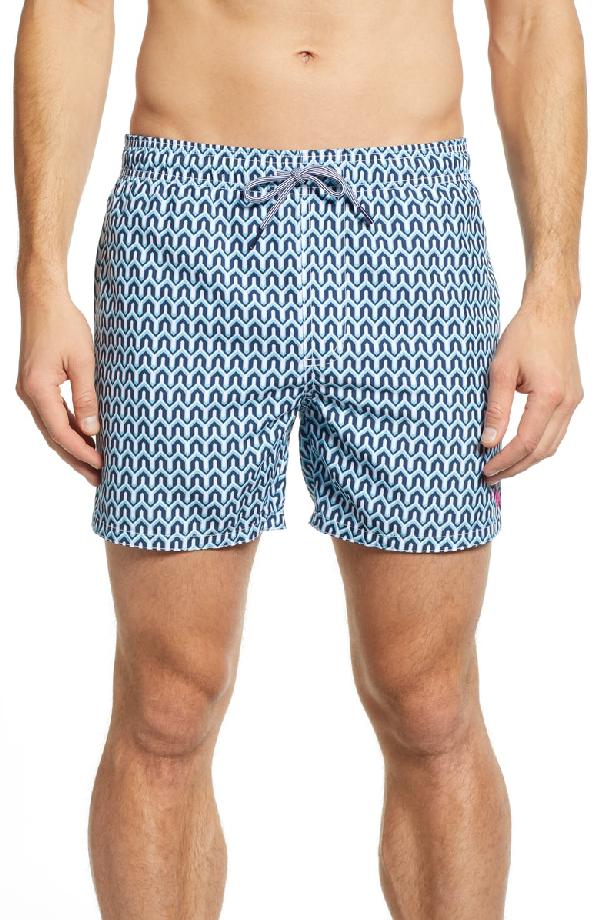 e7aa865894 Ted Baker Hermit Slim Fit Geo Print Swim Trunks In Turquoise | ModeSens