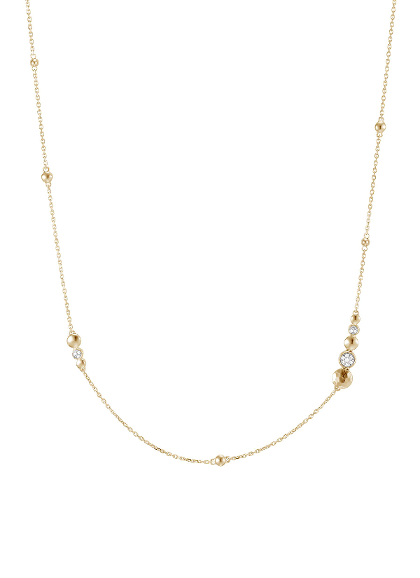John Hardy 18K Yellow Gold Dot Hammered Station Necklace With Diamond Pave, 36 In Gold/ Diamond