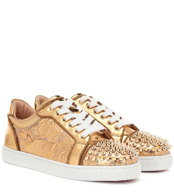 ff0b81ca27d1 Christian Louboutin Vieira Spikes Orlato Flat Ruban Gold Sneakers ...