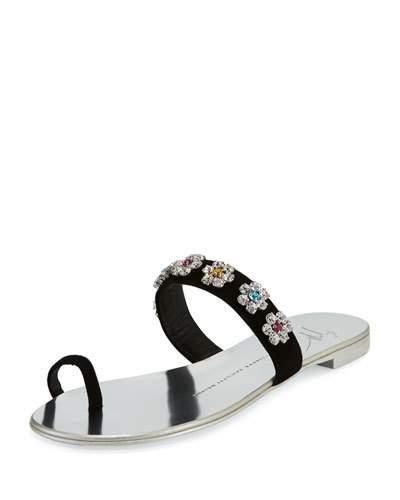 7a1e814628e53 Giuseppe Zanotti Women's Nuvorock Swarovski Crystal Embellished Slide  Sandals In Blue