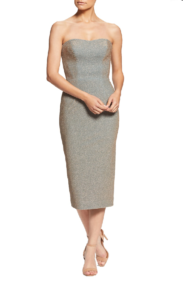 a892f1444223a Dress The Population Claire Metallic Body-Con Midi Dress In Teal/ Gold
