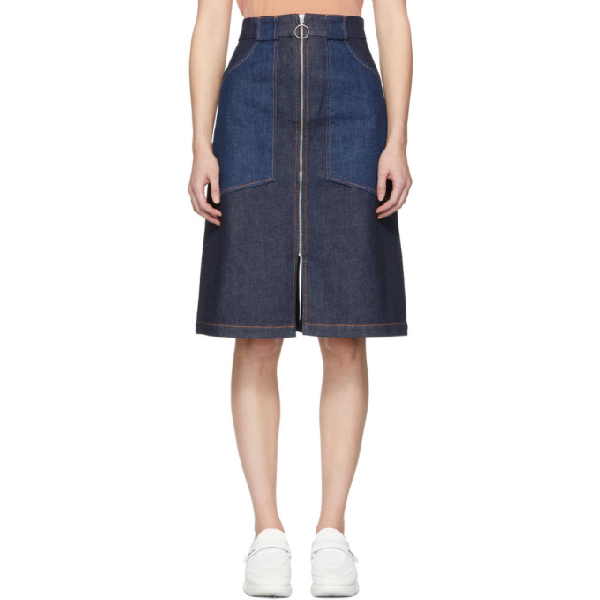 8c4de2df3c5375 A.P.C. Joe High-Rise Denim Midi Skirt In Ial Indigod | ModeSens