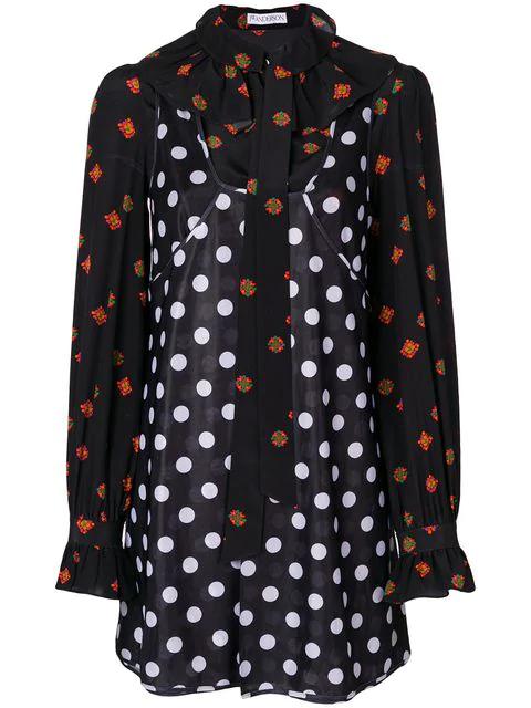 Jw Anderson J.w.anderson Woman Pussy-bow Polka-dot Crepe De Chine Mini Dress Black