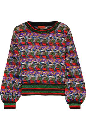 Missoni Woman Metallic Crochet-Knit Sweater Multicolor