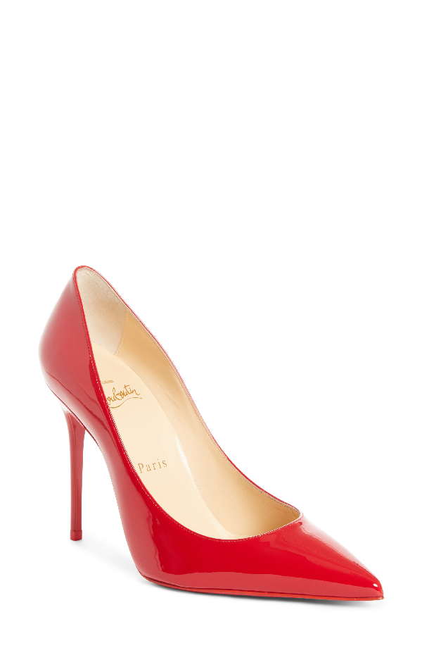 Christian Louboutin Decollette Pointed-Toe Red Sole Pump, Red In Loubi Red