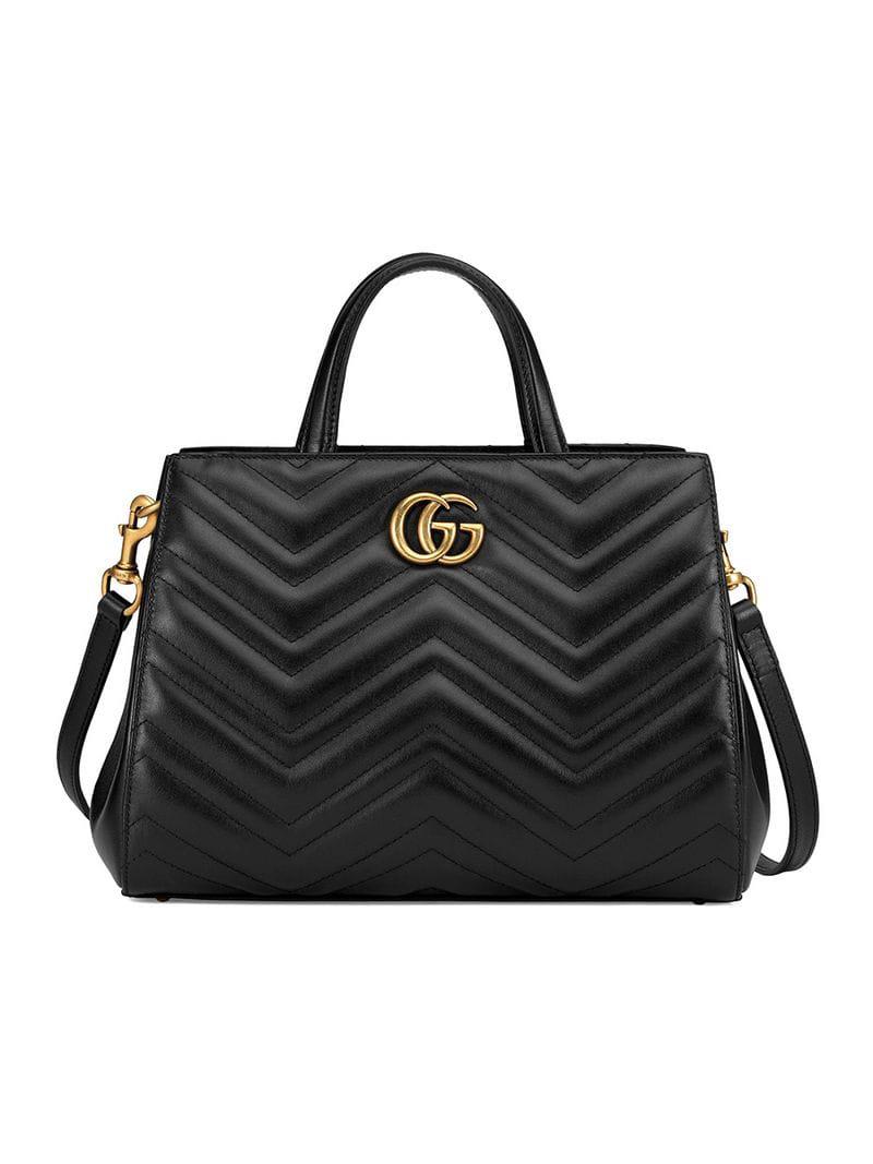 3622c8b74c8c48 Gucci Gg Small Marmont 2.0 Matelasse Leather Top Handle Satchel - Black
