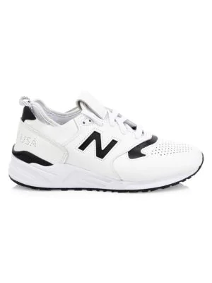 sports shoes 5798f d8f55 999 Made In Usa Leather Sneakers in White Black