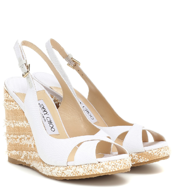 e82cc43d484e Jimmy Choo Amely Canvas Platform Wedge Sandals In White