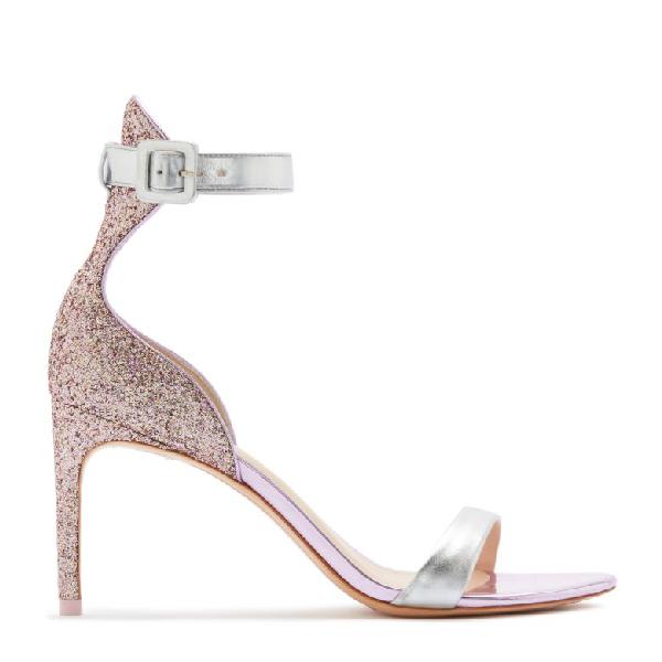 cf92f4300e5 Sophia Webster Nicole Naked Mid-Heel Glitter Ankle-Wrap Sandals In Pink
