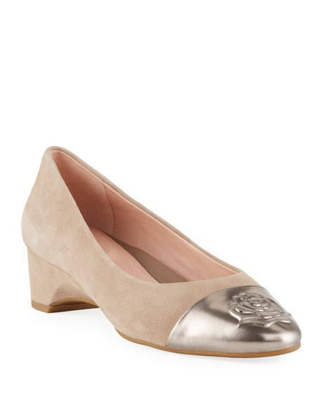599516c172 Taryn Rose Babe Metallic-Capped Suede Ballet Pumps In Taupe | ModeSens