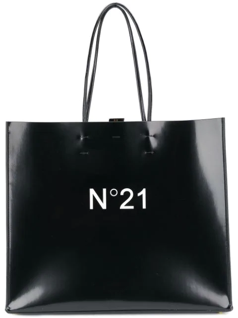N°21 Black Patent Eco-leather Large Tote Bag