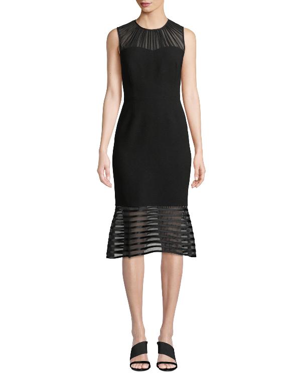 Elie Tahari Paris Sheer-striped Fit-&-flare Cocktail Dress In Black