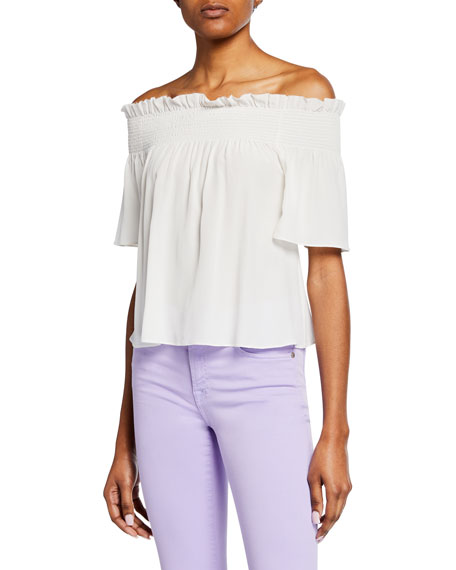 7 For All Mankind Off-Shoulder Smocked Silk Blouse In Natural White