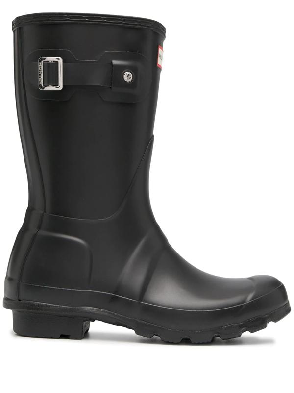 Hunter Original Short Back Adjustable Waterproof Rain Boot In Black
