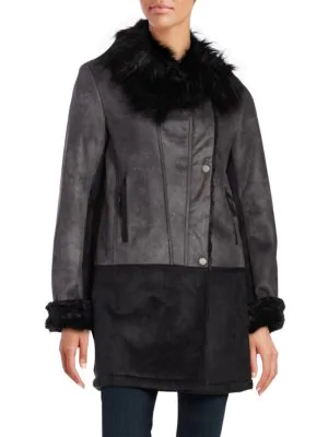 T Tahari Faux-fur-trim Asymmetrical Leatherette Coat In Black
