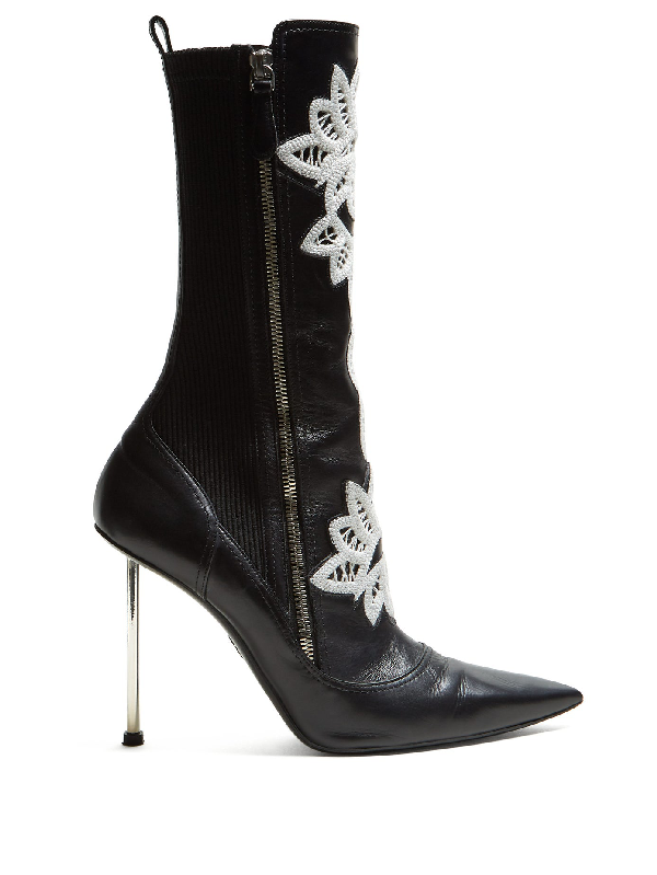 Alexander Mcqueen Embroidered Leather Ankle Boots In Black/Silver