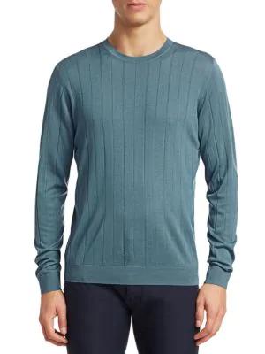 Emporio Armani Vertical Stitch Wool Crewneck Sweater In Light Blue