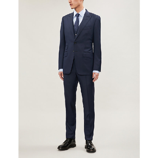 Tom Ford Windsor-Fit Wool Three Piece Suit In Navy