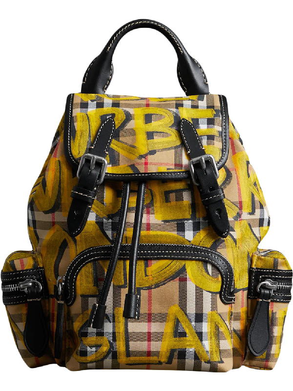 88259961032f Burberry The Small Crossbody Rucksack In Graffiti Print Vintage Check In  Yellow