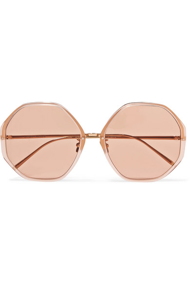 98dcb7947e088 Round-Frame Acetate And Gold-Tone Sunglasses in Pink