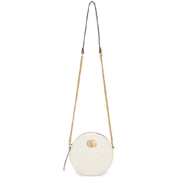 Gucci Gg Marmont Circle Quilted Leather Shoulder Bag In 9022 White